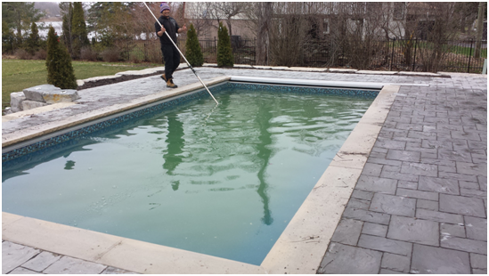 pool cleaning debris removal